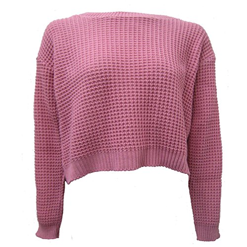 New Ladies Knitted Crop Top Long Sleeve Waffle Jumper Size 36-42 Dusty Pink