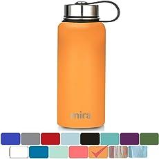 Mira vakuumisolierte Weithals-Wasserflasche aus Edelstahl | Thermosflasche hält 24 Stunden kalt, 12 Stunden warm | Doppelwandige, pulverbeschichtete Reiseflasche