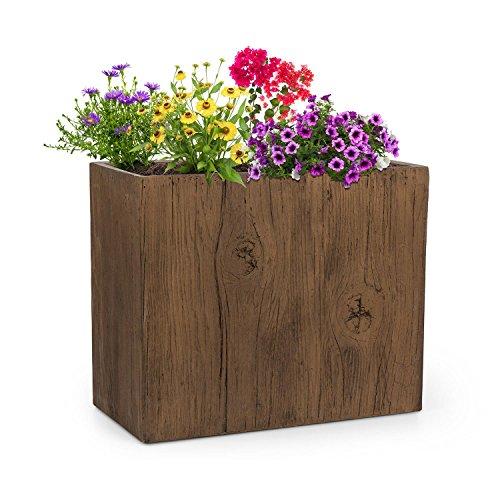 Blumfeldt timberflor vaso per piante fiori fioriera posizionamento libero nessun foro di drenaggio dell'acqua fibra di vetro stabile per interni/esterni effetto legno 60 x 50 x 30 cm (lxaxp) marrone