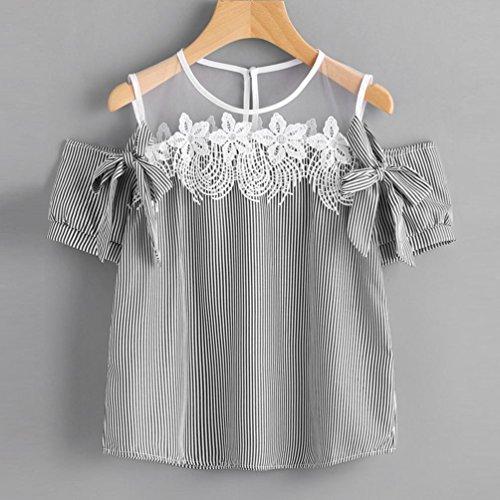 WOCACHI Damen Sommer T-Shirt Mode Frauen Kurzarm weg vom Schulter Spitze gestreiften gedruckten Bowknot Dekoration Blusen Causal Tops T-Shirt Schwarz