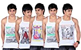 White Moon Printed Gym Vest- Pack of 5 (...