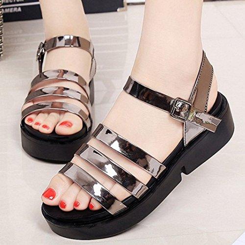 TAOFFEN Damen Fashion Open Toe Ankle Strap Shoes Slingback Chunky Heels Sandalen Gunmetal