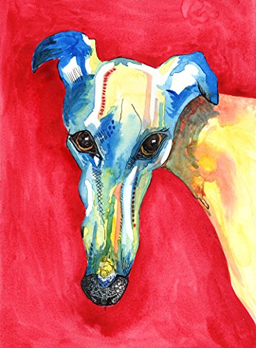 Greyhound Art Greyhoundart Italian painting Art - stampe A4 o A5 - montato opzioni disponibili, White, A4 Print Only 8 (Greyhound Dog Stampa)