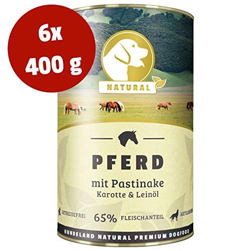 NATURAL Hundeland Pferd + Pastinake | 6 x 400 g | getreidefreies Hundefutter | Nassfutter für alle Hunderassen | viel frisches Fleisch | artgerecht & besonders gut verträglich