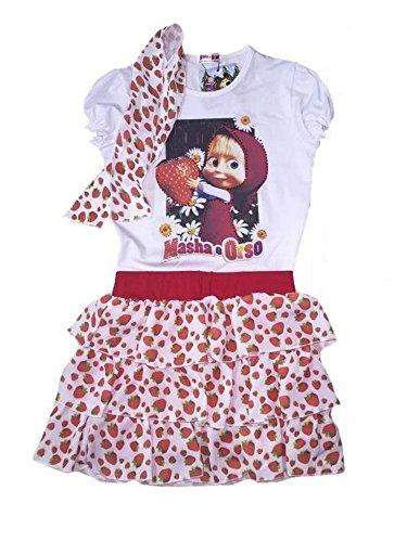 Masha e orso vestitino estivo bimba, maglietta e gonna *21109-8 anni-rosso