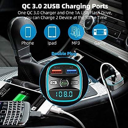2019-NeuesteFM-Transmitter-HOLALEI-Auto-Bluetooth-50-Adapter-Radio-Transmitter-mit-Dual-USB-Ladegert-QC-30-FM-Sender-Freisprecheinrichtung-mit-Mikrofon