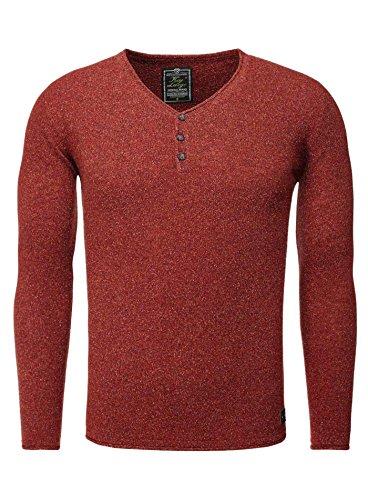 Key Largo Herren Pullover GARDA Allrounder Sweatshirt mit Knopfleiste Meliert Bordeauxrot