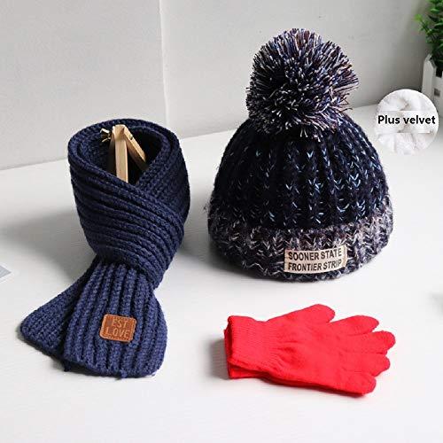 3Pcs-Kinder Schal Hut Handschuhe Set, Strickmütze Schal Und Handschuhe Weichen Warmes Winter-Zubehör Plüsch Futter Geeignet for 2-12 Jahre Alt (Farbe : #4)