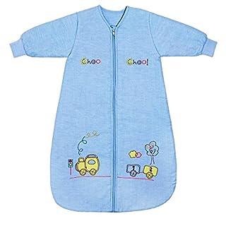 Schlummersack Babyschlafsack Winter in blau für Jungen Langarm 3.5 Tog 70cm/ 0-6 Monate - Zug