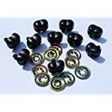 Pack of 10 - Black Animal Noses 12mm Metal Backs - Teddy Bear & Soft Toy Making Detailed Noses