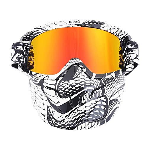 Sportsonnenbrille Damen Motocross Spiegel Spiegel Retro Schutzbrillen Maskenbrillen Helm Winddichte Brillen Colorful A04 Damen Herren
