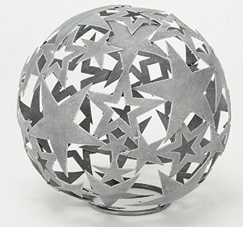dekorative Stern-Kugel Deko-Kugel Garten-Kugel Metall hellgrau dm= 35 cm (Metall-sterne-haus)