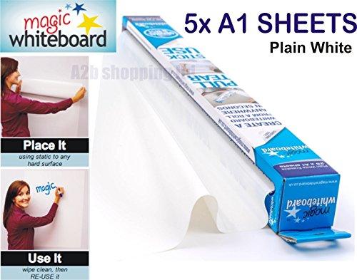 magic-whiteboard-sheets-a1-white-dry-erasable-paper-plain-roll-self-vinyl-stick-5x-a1-sheets