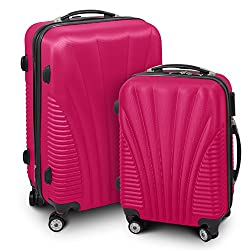 BERWIN® Trunk Case M + L 2-parts Trolley Trolley Hard Shell Case ABS Telescopic Handle Funnel (Pink)