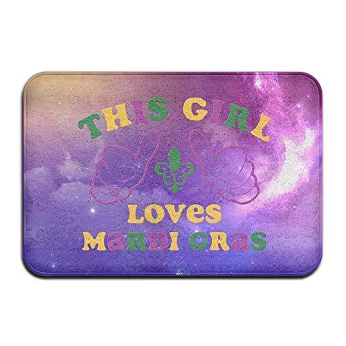 Soft Non-Slip This Girl Loves Mardi Gras Bath Mat Coral Fleece Area Rug Door Mat Entrance Rug Floor Mats