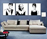 Kunstdruck Galerie-Schwarz Weiss Foto Marilyn Monroe Und Audrey Hepburn Kunstdruck auf Leinwand Bild Keilrahmenbild Leinwandbild, Modern Dekoration für Zuhause, Motiv, 3-Teilig, Fertig Zum Aufhängen, #04-85360