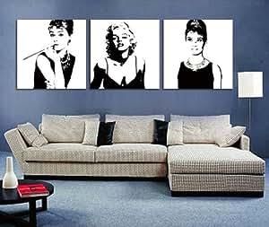 schwarz wei marilyn monroe und audrey hepburn bild auf leinwand drucken moderne. Black Bedroom Furniture Sets. Home Design Ideas