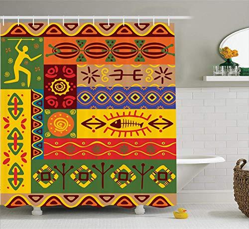 HYJDZKJY Afrikanische Duschvorhang abstrakte West Volkskunst Formen mit einzigartigen Linien Print Tuch Stoff Badezimmer Dekor Set mit Haken -