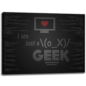 Je suis juste un Geek sur toile au format: 100 cm x 70 cm. Impression d'art de haute qualité comme une fresque. Moins cher qu'une peinture à l'huile! ATTENTION! Aucune affiche
