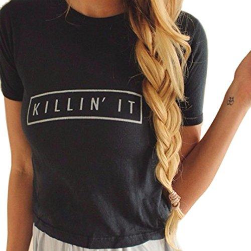feiXIANG mode frauen Dame Mini sommer um den hals brief kurze ärmel baumwoll bluse tops t - shirt (M, Schwarz) (Baumwolle Hand Stickerei Farbe)