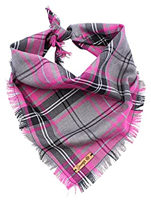 Pet Pooch Boutique Frayed Buffalo Plaid Bandana for Dog, Small/Medium, Pink by Pet Pooch Boutique