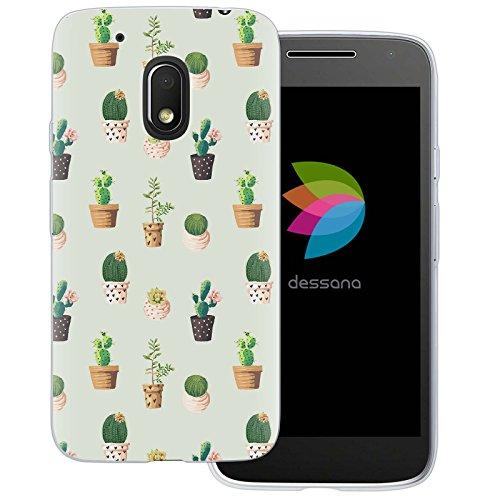 dessana Kaktus Niedlich Transparente Silikon TPU Schutzhülle 0,7mm Dünne Handy Tasche Soft Case für Motorola Moto G4 Play Bunte Kakteen