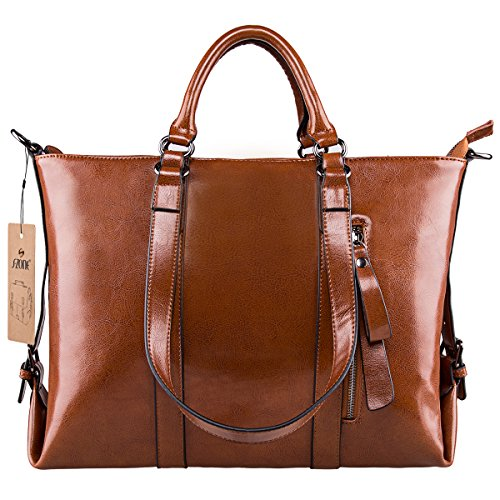 - 51zsIcUzFiL - S-ZONE 3-Way Ladies Women's Cow Split Leather Tote Bag Handbag Shoulder Bags