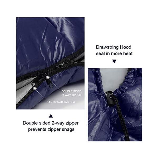 Bessport Mummy Sleeping Bag -10 Degree Celsius - 4 Season Backpacking Sleeping Bag for Adults & Kids – Lightweight Warm… 4