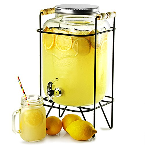 Yorkshire Mason Jar Bebidas Dispensador con 8ltr Soporte | bar@drinkstuff Beverage Dispenser, Mason Jar Beverage Dispenser, jugo dispensador, dispensador de cóctel, vintage Bebidas Dispensador