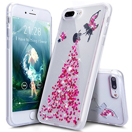 iPhone 8 Plus Hülle,iPhone 7 Plus Hülle,ikasus® iPhone 7 Plus Hardcase Hülle [Kristallklar Durchsichtig],Malerei Dandelion Löwenzahn Pusteblume Muster Glänzend Glitzer Kristall Strass Diamanten Überzu Engel:Rosa
