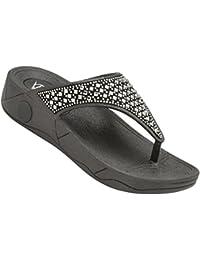 e64d05801e Dunlop Womens Toe Post Verena Fit Flip Flop Low Platform Beach Sandals Black  Silver