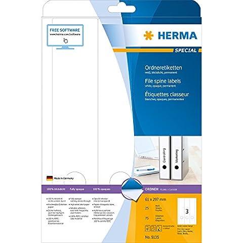 Herma 5135 Ordnerrücken Etiketten breit/lang, blickdicht (61 x 297 mm auf DIN A4 Papier matt) 75 Stück auf 25 Blatt, weiß, selbstklebend