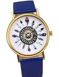 Ladies Vintage Indian Feather Dial analógico de cuarzo relojes de pulsera reloj de pavo real azul