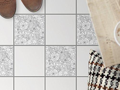 Fussboden-Fliesen dekorativ | Deko-Fliesenaufkleber Balkonfolie Dekorfolie-Boden Fußboden Deko | 20x20 cm Design Motiv Creative Lines - 4 Stück