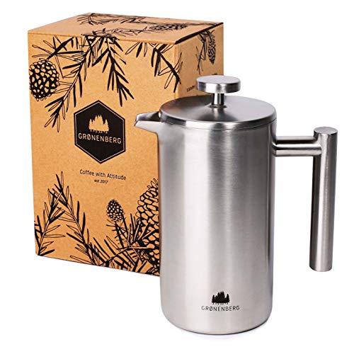 French-Press aus Edelstahl von Groenenberg | 0,6 Liter Kaffee-Bereiter doppelwandig | Kaffee-Presse inkl. Ersatzfiltern | Coffee-Press Espressokocher