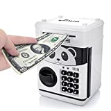 Jhua 1 Cartoon Cash Coin Can Password elettronico Risparmio ATM Bank Safe Locks Panda Smart Voice Prompt Denaro Piggy Box per Bambini/Regalo di Natale, Bianco