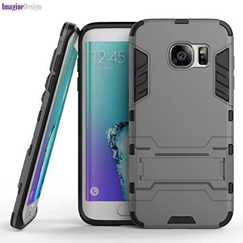 WOW Imagine(TM) Premium Military Grade Protection AirArmour Super Slim Dual Layer Tough Hard Back Case Cover for Samsung Galaxy S6 Edge - Metallic Grey