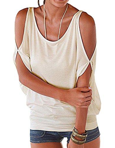 Mangotree Oberteile Kurzarm Batwing T-Shirt Tops Damen Schulterfreies Bluse Tunika Tanktop (XL: 42/44, Beige)