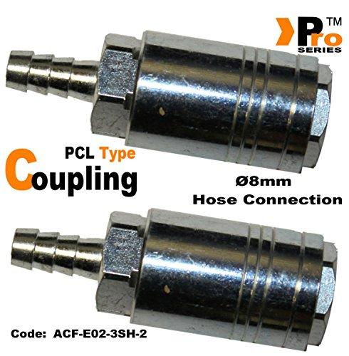 Twin Pack-PCL Stil Kupplung mit Ø8mm Schlauchanschluss -