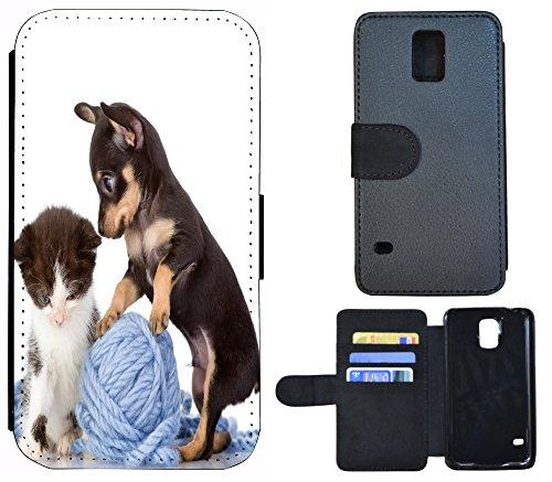 Schutz Hülle Flip Cover Handy Tasche Etui Case für (Apple iPhone 5 / 5s, 1269 Kleeblatt Glück Grün) 1261 Baby Hund Katze Welpe Kätzchen Braun Weiß