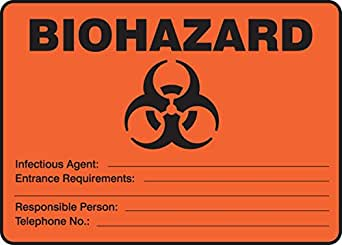 Accuform MBHZ512VS Adhesive Vinyl Safety Sign 7 Length x 10 Width x 0.004 Thickness Legend BIOHAZARD INFECTIOUS AGENT: /_/_/_ ENTRANCE REQUIREMENTS: /_/_/_ RESPONSIBLE PERSON: /_/_/_ TELEPHONE NO.: /_/_/_ with Graphic Black on Orange-Red