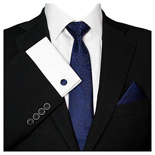 3- SET Krawatte & Einstecktuch Manschettenknöpfe Schwarz Blau BINDER Schmale KRAVATTE zum ANZUG VERLOBUNG HOCHZEIT HERREN SCHLIPS Hochzeitskrawatte