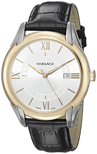 Versace pour homme 'Apollo' Swiss Quartz en acier inoxydable et cuir décontractée montre, couleur: noir (modèle: V10040015)