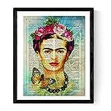 Nacnic Drucken in Spanisch mit der Definition von Kunst Frida Kahlo Blau einrahmen. Größe 30x40cm