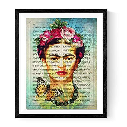Nacnic Imprimer pour l'encadrement Frida Kahlo Bleu avec la définition de l'art en Espagnol. Taille 30x40cm