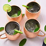 DEIK Tazza in rame per Moscow Mule / Acciaio Inossidabile/Cups 550 ML / 18 oz/ alta qualità/ Set of 4 tazze/ - 100% Pure Copper Hammered