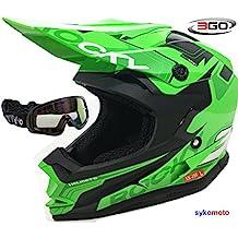 3GO XK188 ROCKY CASCO DE NIÑOS Y NIÑAS MOTOCROSS OFF ROAD ATV QUAD ENDURO VERDE CON