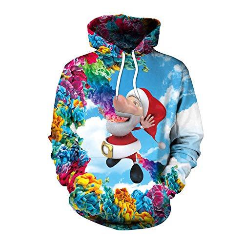 Lustige Weihnachtskostüm - TUWEN WeihnachtskostüM Lustige Weihnachtsmann Rauchen Print Winter Lange ÄRmel Mit Kapuze Design Sweatshirt