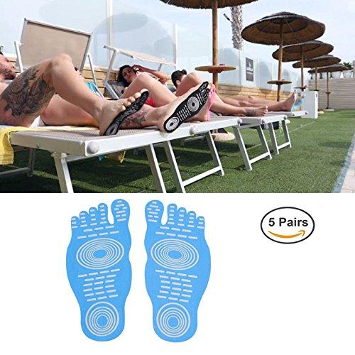 Uomo Donna e Bambino Adesivo Adesivo Foot Pads Stick On Soles Protezione piede flessibile, calzini per l'esercizio piedi Beach Pool, non slip Yoga Calzini (5 paia) Blue