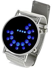 Reloj de Pulsera Espejo de Acero Inoxidable Círculos Azules Redondo con LED